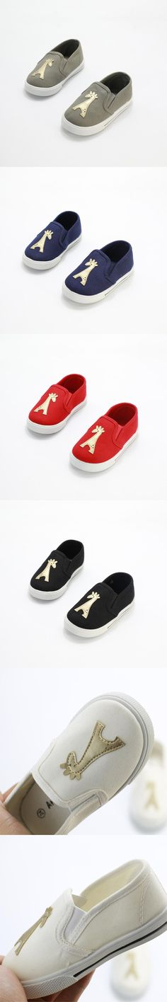 Spring cute dear children shoes girls shoes simple fashion comfortable breathable slip on canvas casual sneakers kids boys shoes