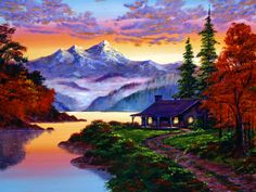 Mountain Sunset Paintings - The Pleasures of Autumn by David Lloyd Glover River Painting, Acrylic Painting Canvas, Mountain Sunset, Mountain Landscape, Landscape Artwork, Watercolor Landscape, Painting Digital, Mountain Paintings, Sunset Paintings