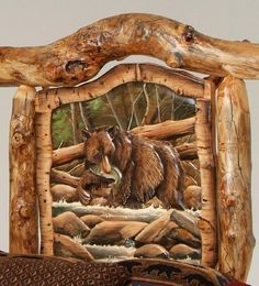 Burl Aspen Log Beds with Carved Panel, Log Furniture, Cabin