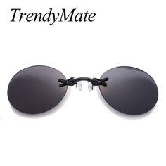 6af3086282539b Brand Designer Retro Round Clip On Nose Glasses Men Matrix Morpheus Movie  Rimless Sunglasses Women Oculos 1181T