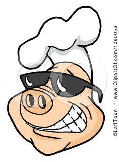 Smiling cartoon pig wearing sunglasses and a chef hat. Great for BBQ related cooking blogs! Image © LaffToon