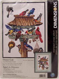 "Dimensions Cross Stitch Kit Dinner Call 11"" x 14"" Birds at Bird Feeder | eBay"
