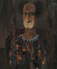 George Campbell RHA (1917-1979)Dan O'Neill as Clown (1973)Oil on board, 58 x 48cm (22¾ x 19'')SignedAlso with letter of authentication from the artist's wife, Madge, to UTV, dated 1993Provenance: UTV Art CollectionExhibited: Friends and Acqua