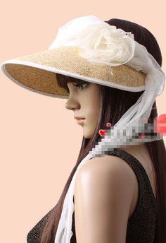 Wholesale Trendy & Pretty Flower Empty top Straw Hat----Beige top dresses