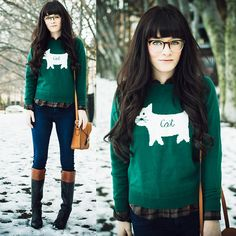 Romwe Sweater, Thrifted Boots, Warby Parker Glasses - CAT. - Rachel-Marie Iwanyszyn