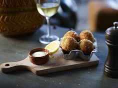 Pea and Fontina Arancini Balls at Cornerstone Bar & Food, Sydney