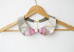 Metallic Pink and Silver Leather Collar Bib Necklace by SmArtAnna, $48.00