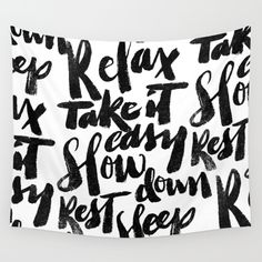 relax, take it easy, brush script, lettering, sumi, sleep
