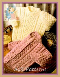PDF Knitting Pattern for Aran Cardigan & Sweater to fit Chest sizes 16 to 22 Inches