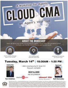 Join us on Wednesday, March 14th to learn more about Cloud CMA!  Attendees will learn how to create a 35-page customized report in just ten minutes.   Assimilate how to do an iPad listing presentation to establish yourself as an innovative professional and present relevant and modern content.   Complimentary lunch will be served, and space is limited so reserve your seat today! Click the link below to RSVP.    https://www.eventbrite.com/e/cloud-cma-workshop-tickets-43628146962