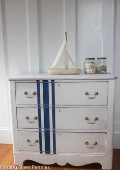Grain Sack Dresser in a custom mix of Chalk Paint Pure White and Old White and Napoleonic Blue.