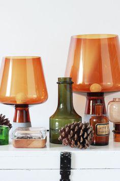 Iittala Leimu lamp, Vitriini box clear/oak, Kivi votive. Via Kettukarkki.