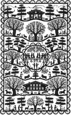 """Scherenschnitte which means """"scissor cuts"""" in Switzerland is the art form of paper cutting. The artwork often has symmetry within the design. This art tradition was found in Switzerland and Germany in the century. Folk Art, Illustration, Paper Design, Art Forms, Image, Graphic Design, Art, German Art, Paper Art"""