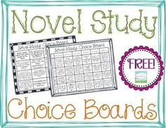 FREEBIE Differentiated Novel Study Choice Boards (Literature Circles)