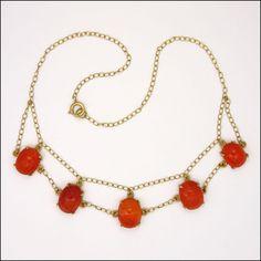 Art Deco Silver Gilt Carnelian Agate Scarab Necklace  found at www.rubylane.com @rubylanecom