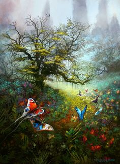 To the Brightness of the Day Picture  (2d, fantasy, illustration, flowers, butterflies)