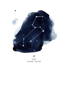 I like the idea of this constellation with the water color dark night sky behind it Zodiac Constellation - Leo Art Print