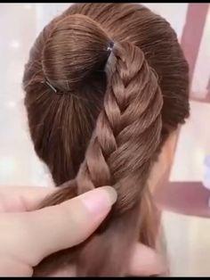 Hairdo For Long Hair, Bun Hairstyles For Long Hair, Braided Hairstyles Tutorials, Headband Hairstyles, Girl Hairstyles, Hair Ponytail Styles, Front Hair Styles, Hair Style Vedio, Hair Videos