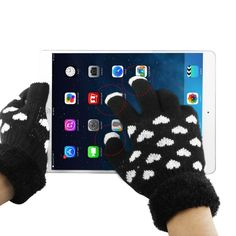 [USD2.03] [EUR1.91] [GBP1.48] Woven Decorative Heart Pattern Three Finger Touch Screen Touch Gloves for iPhone 6 & 6S , iPhone 5 & 5S & 5C, iPhone 4 & 4S / iPad / iPod Touch, BlackBerry, HTC and Other Touch Screen Device(Black)