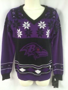 NWT NFL Fan Apparel Women S Baltimore Ravens purple black Christmas sweater