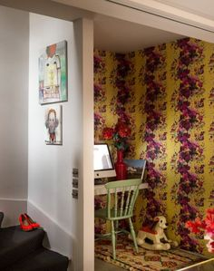 Create a quirky study nook with yellow and pink floral wallpaper. The bold pattern zones off the space and adds bags of personality.