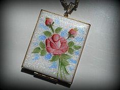 Vintage Guilloche' Lovely Large Locket Pendant Necklace