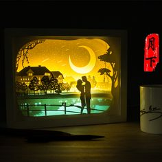 Light paper sculpture 3D lamp remote control lamp lamp DIY hand creative gift lamp bedroom bedside Nightlight