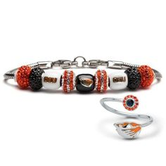 CustomCharms Oregon State Beavers Style 2 Orange Wire Charm Bracelet Bangle with Team Color Crystals