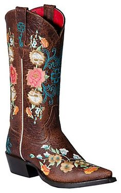Anderson Bean Macie Bean Ladies Chocolate Brown w/Floral Embroidered Snip Toe Boot | Cavender's