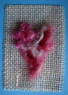needle felted heart on burlap <3