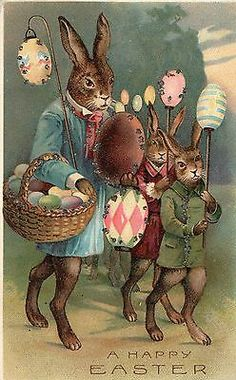 A Happy Easter German Postcard Rabbit Dressed for Easter Glitter Early 1900'S | eBay