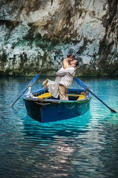 Pre wedding session in #Melisani lake in #Kefalonia island. photo by nikiforosphotography