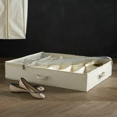 Twill Underbed Divided Storage with Ticking  | Crate and Barrel