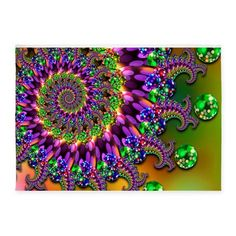 Green Purple Fractal Pattern 5x7'Area Rug on CafePress.com