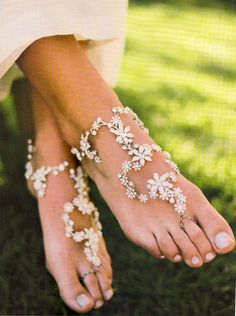 """Beautiful barefoot """"sandals"""" for a beach wedding -from Paris! New. $299"""