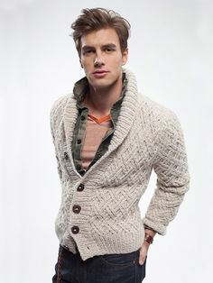 Grandson Mens Fitted Cardigan (Digital Download) knitted in Rowan Alpaca Chunky from What Do You Become At Night by Josh Bennett. | English Yarns