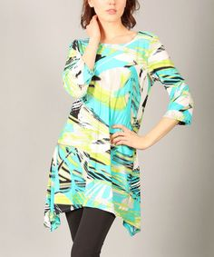 Yellow & Teal Abstract Sidetail Tunic by Lbisse #zulily #zulilyfinds