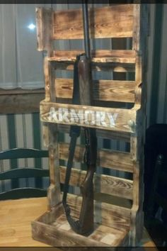 Crazy Idea of making a gun rack out of pallets. Turned out pretty good!