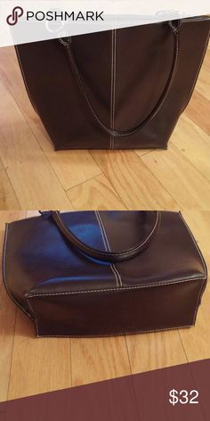 Perfect Brown Bag Perfect condition, dark brown leather bag with man-made trim. Purchased at the mall leather store. Bags