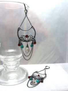 Ruffel   silver wire wrapped earrings with by MadeBySunflower, $150.00