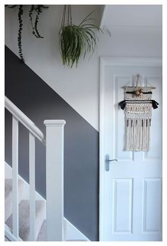 Will a half-painted stairway wall beat dirty hand marks and scuffs for good? Inspired ideas for family interiors | Within a day of repainting our stairway wall white a while back, I could already see new grimy hand marks and scuffs. Instead of obsessing over them I Hallway Wall Colors, Stairwell Wall, Stair Walls, Hallway Walls, Hallways, Half Painted Walls, Painted Stairs, Half Walls, Decorating Stairway Walls