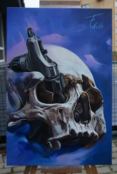 Acrylic painting on canvas 40X60 cm. skull and fk irons tattoo machine.