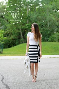 DIY Perpendicular Striped Pencil Skirt - FREE Sewing Tutorial by Cotton + Curls