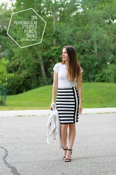 DIY perpendicular striped pencil skirt