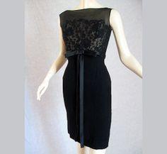 Vintage 50s Black Illlusion Lace Cocktail by LilBlackDressVintage, $115.00
