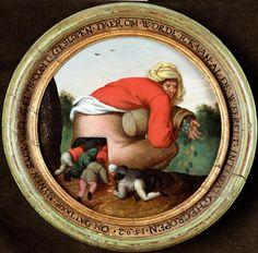 Pieter Brueghel il Giovane, Gli adulatori / The Flatterers, circa 1592, olio su tavola circolare, 18,5 cm (diam.), Maastricht, collezione privata