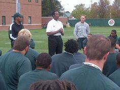 Former Spartan greats Clinton Jones and Gene Washington address the team following Friday's walk-thru. #Spartans