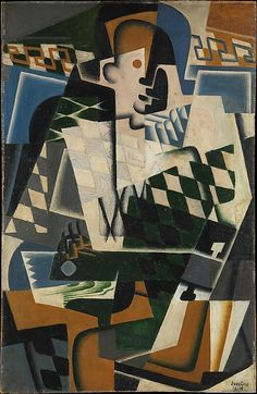 Juan Gris (Spanish, Madrid 1887–1927 Boulogne-sur-Seine) - Harlequin with a Guitar, 1917, Oil on panel, The Metropolitan Museum of Art.