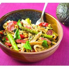 Tolerant foods Red Lentil Mini Fettuccine with veggies and creamy avocado dressing:   pound uncooked gluten-free Tolerant Mini fettuccini 2 teaspoons grapeseed oil canola oil or olive oil 3 ounces prosciutto roughly chopped 3 tablespoons water gluten-free broth or white wine 1 bunch asparagus woody ends discarded and stalks sliced into thirds 1 large red bell pepper thinly sliced 2 shallots chopped 2 garlic cloves chopped 1 large ripe avocado peeled and pitted -Juice of  lemon 1/4 teaspoon…