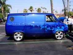 That 70's Van, Blue on Blue True Fire airbrushed on Overhaulin' by Mike Lavallee of Killer Paint - www.killerpaint.com